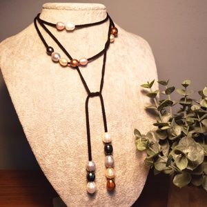 Beaded Suede Long Choker Necklace